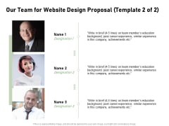Web Designing Our Team For Website Design Proposal Ppt Layouts Show PDF