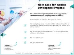 Web Development IT And Design Templates Next Step For Website Development Proposal Themes PDF