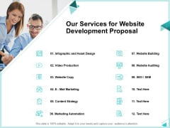 Web Development IT And Design Templates Our Services For Website Development Proposal Designs PDF