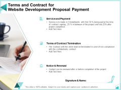 Web Development IT And Design Templates Terms And Contract For Website Development Proposal Payment Portrait PDF