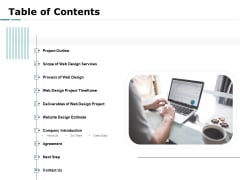 Web Engineering Table Of Contents Agreement Ppt Pictures Background Images PDF