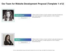 Web Redesign Our Team For Website Development Proposal Education Ppt Outline Inspiration PDF