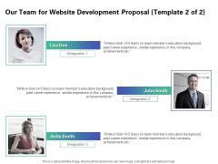 Web Redesign Our Team For Website Development Proposal Ppt Slides Model PDF