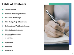 Web Redesign Table Of Contents Ppt Outline Good PDF