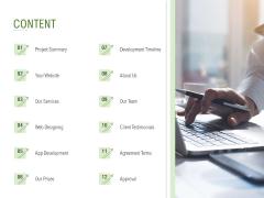 Website Design And Development Content Ppt PowerPoint Presentation Inspiration Slide PDF