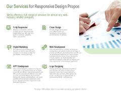 Website Design And Development Our Services For Responsive Design Proposal Formats PDF