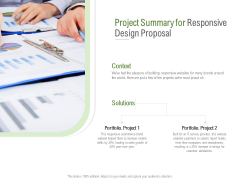 Website Design And Development Project Summary For Responsive Design Proposal Professional PDF