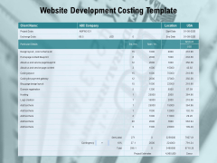 Website Development Costing Template Ppt PowerPoint Presentation Professional Example Topics PDF