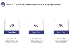 Wedding Affair Management 30 60 90 Days Plan For Wedding Event Planning Proposal Brochure PDF