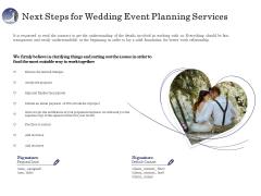 Wedding Affair Management Next Steps For Wedding Event Planning Services Graphics PDF