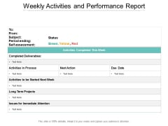Weekly Activities And Performance Report Ppt PowerPoint Presentation Styles Demonstration