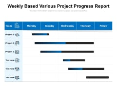 Weekly Based Various Project Progress Report Ppt PowerPoint Presentation Gallery Introduction PDF