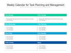Weekly Calendar For Task Planning And Management Ppt PowerPoint Presentation File Designs Download PDF