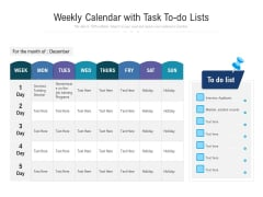 Weekly Calendar With Task To Do Lists Ppt PowerPoint Presentation Gallery Clipart Images PDF
