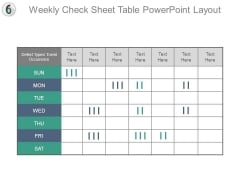 Weekly Check Sheet Table Powerpoint Layout
