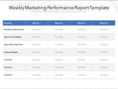 Weekly Marketing Performance Report Template Ppt PowerPoint Presentation Layouts Sample