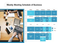Weekly Meeting Schedule Of Business Ppt PowerPoint Presentation Icon Infographics PDF