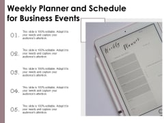 Weekly Planner And Schedule For Business Events Ppt PowerPoint Presentation Graphics PDF