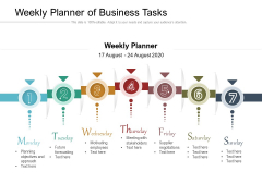 Weekly Planner Of Business Tasks Ppt PowerPoint Presentation Gallery Layouts PDF