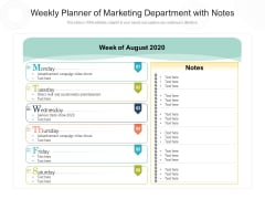 Weekly Planner Of Marketing Department With Notes Ppt PowerPoint Presentation Gallery Example File PDF