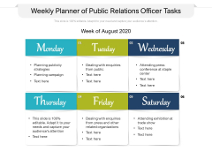 Weekly Planner Of Public Relations Officer Tasks Ppt PowerPoint Presentation Gallery Sample PDF