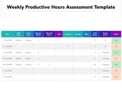 Weekly Productive Hours Assessment Template Ppt PowerPoint Presentation Infographic Template File Formats PDF