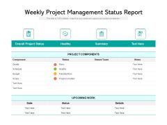Weekly Project Management Status Report Ppt PowerPoint Presentation Portfolio Model PDF