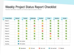 Weekly Project Status Report Checklist Ppt PowerPoint Presentation Show Slide Download PDF