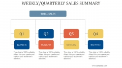 Weekly Quarterly Sales Summary Ppt PowerPoint Presentation Show