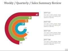 Weekly Quarterly Sales Summary Review Ppt PowerPoint Presentation Gallery Designs