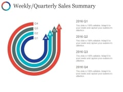 Weekly Quarterly Sales Summary Template Ppt PowerPoint Presentation File Slide Download