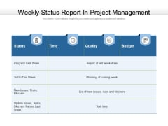 Weekly Status Report In Project Management Ppt PowerPoint Presentation Visual Aids Diagrams PDF