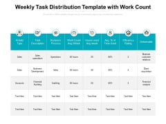 Weekly Task Distribution Template With Work Count Ppt PowerPoint Presentation Infographic Template Slide Download