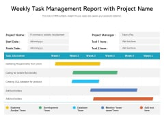 Weekly Task Management Report With Project Name Ppt PowerPoint Presentation Styles Example PDF