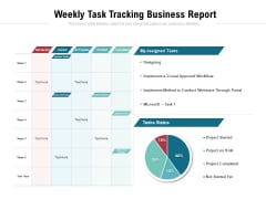 Weekly Task Tracking Business Report Ppt PowerPoint Presentation Gallery Example Topics PDF