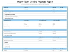 Weekly Team Meeting Progress Report Ppt PowerPoint Presentation File Picture PDF