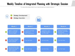 Weekly Timeline Of Integrated Planning With Strategic Session Ppt PowerPoint Presentation File Ideas PDF