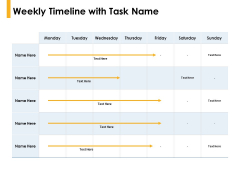 Weekly Timeline With Task Name Compare Ppt PowerPoint Presentation Pictures Graphics Download