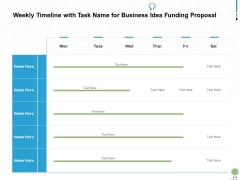 Weekly Timeline With Task Name For Business Idea Funding Proposal Ppt PowerPoint Presentation Portfolio Diagrams
