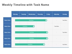 Weekly Timeline With Task Name Ppt PowerPoint Presentation Gallery Information