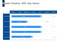 Weekly Timeline With Task Name Ppt PowerPoint Presentation Inspiration Shapes