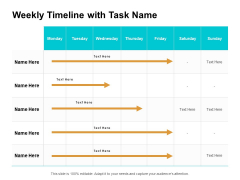 Weekly Timeline With Task Name Ppt PowerPoint Presentation Outline Structure