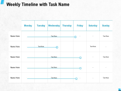 Weekly Timeline With Task Name Ppt PowerPoint Presentation Pictures Portfolio