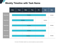 Weekly Timeline With Task Name Ppt PowerPoint Presentation Professional Clipart