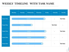 Weekly Timeline With Task Name Ppt PowerPoint Presentation Sample