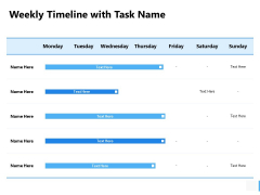 Weekly Timeline With Task Name Ppt PowerPoint Presentation Slides Examples
