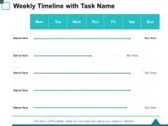 Weekly Timeline With Task Name Ppt PowerPoint Presentation Styles Introduction