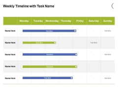 Weekly Timeline With Task Name Ppt PowerPoint Presentation Visual Aids Infographic Template