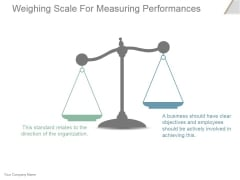 Weighing Scale For Measuring Performances Ppt PowerPoint Presentation Slide