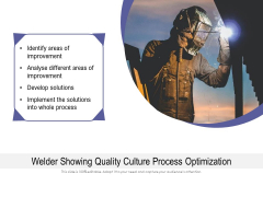 Welder Showing Quality Culture Process Optimization Ppt PowerPoint Presentation Outline Infographics PDF